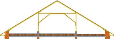 Наслонная стропильная конструкция с двумя дополнительными опорами.